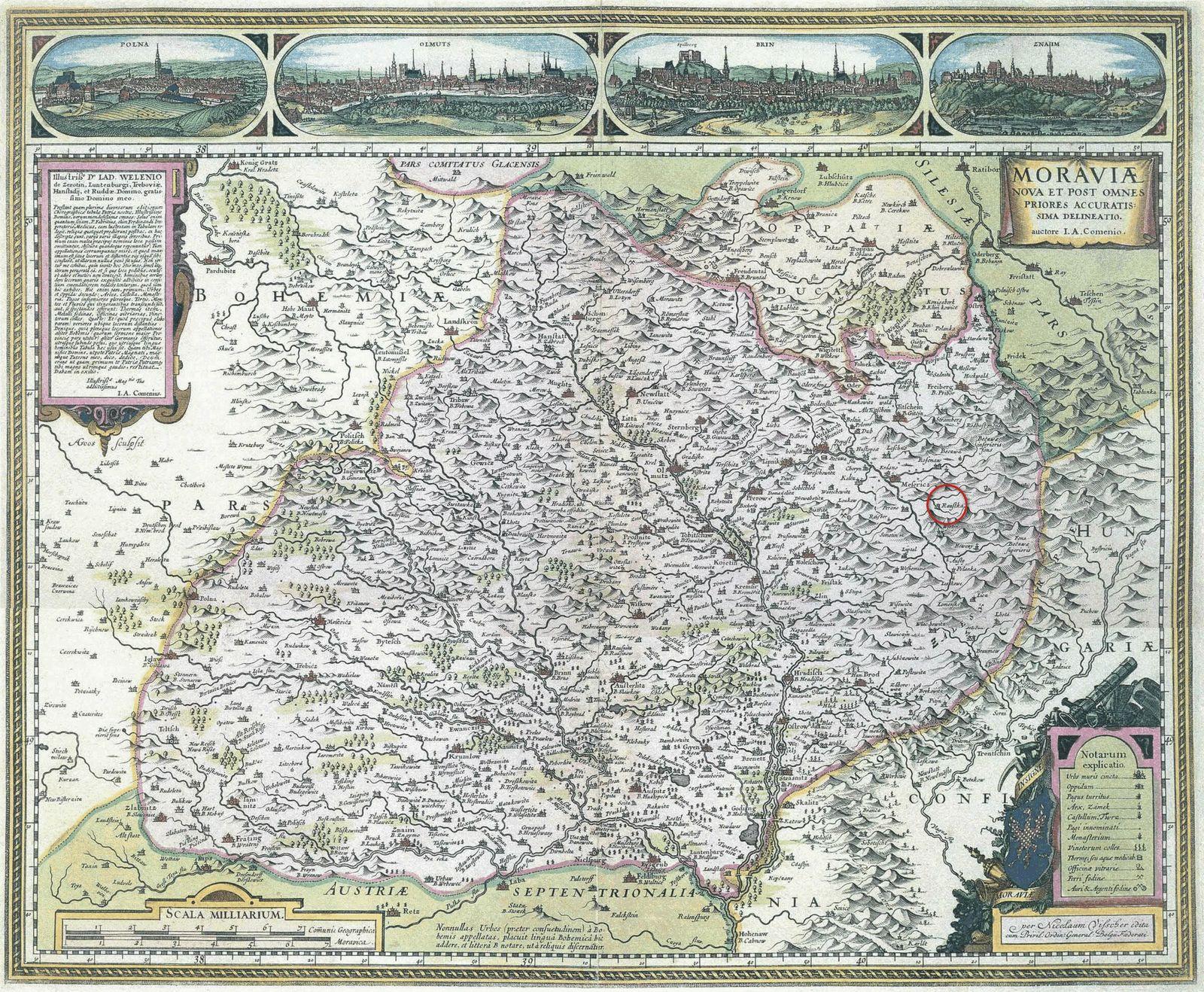 Komenského mapa Moravy z roku 1680 podle rytiny z roku 1627