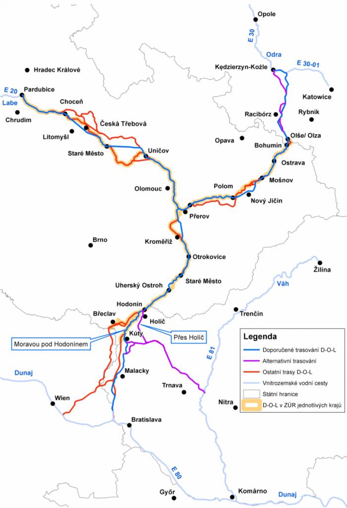 Kanál Dunaj-Odra-Labe | Zdroj: Ministerstvo dopravy