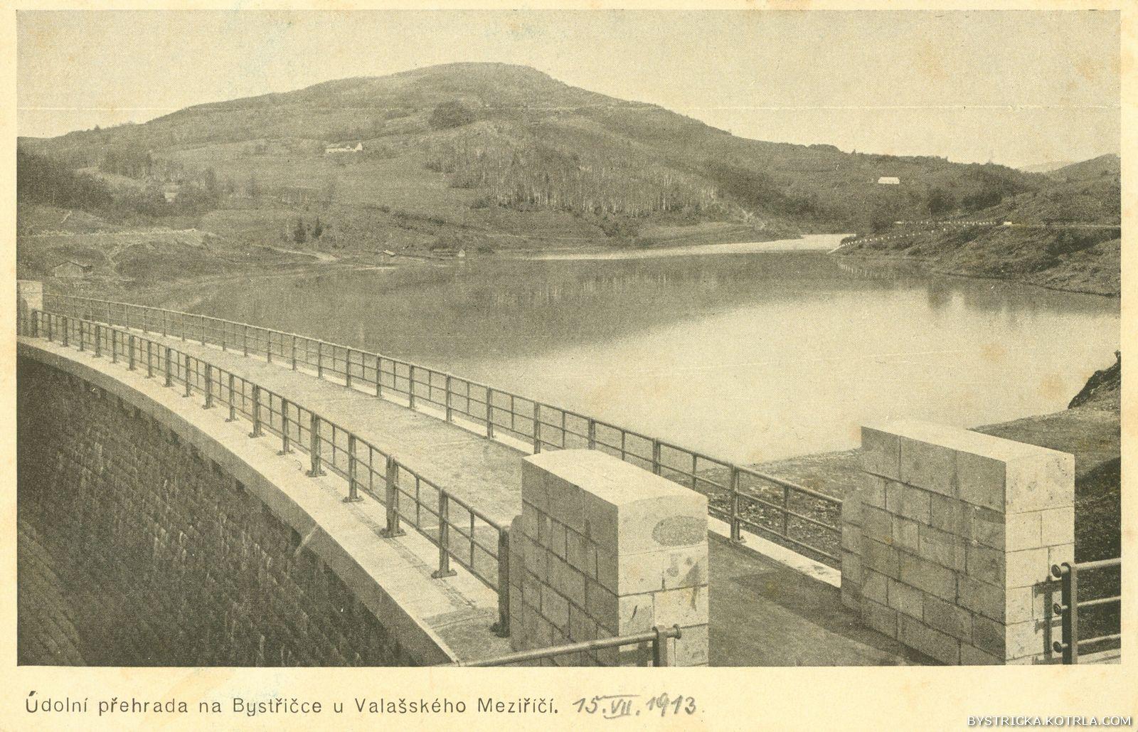 Údolní přehrada na Bystřičce u Valašského Meziříčí. 1913