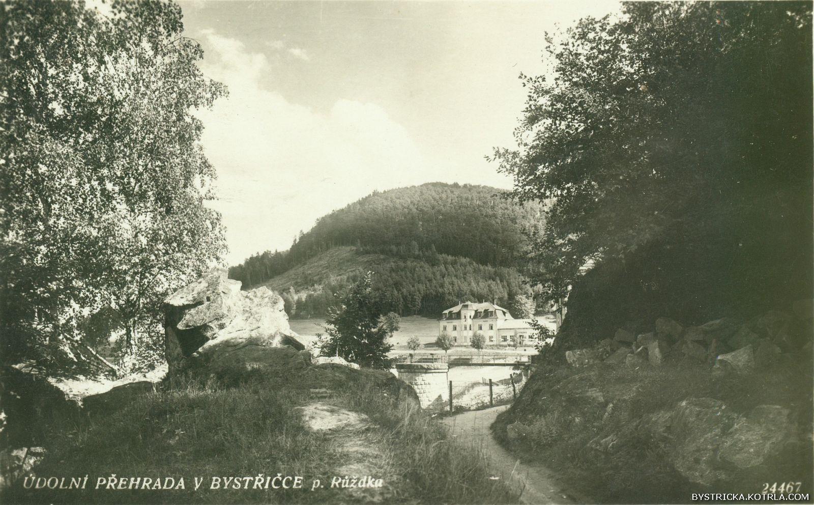 Údolní přehrada v Bystřičce p. Růžďka – hotel Klenov