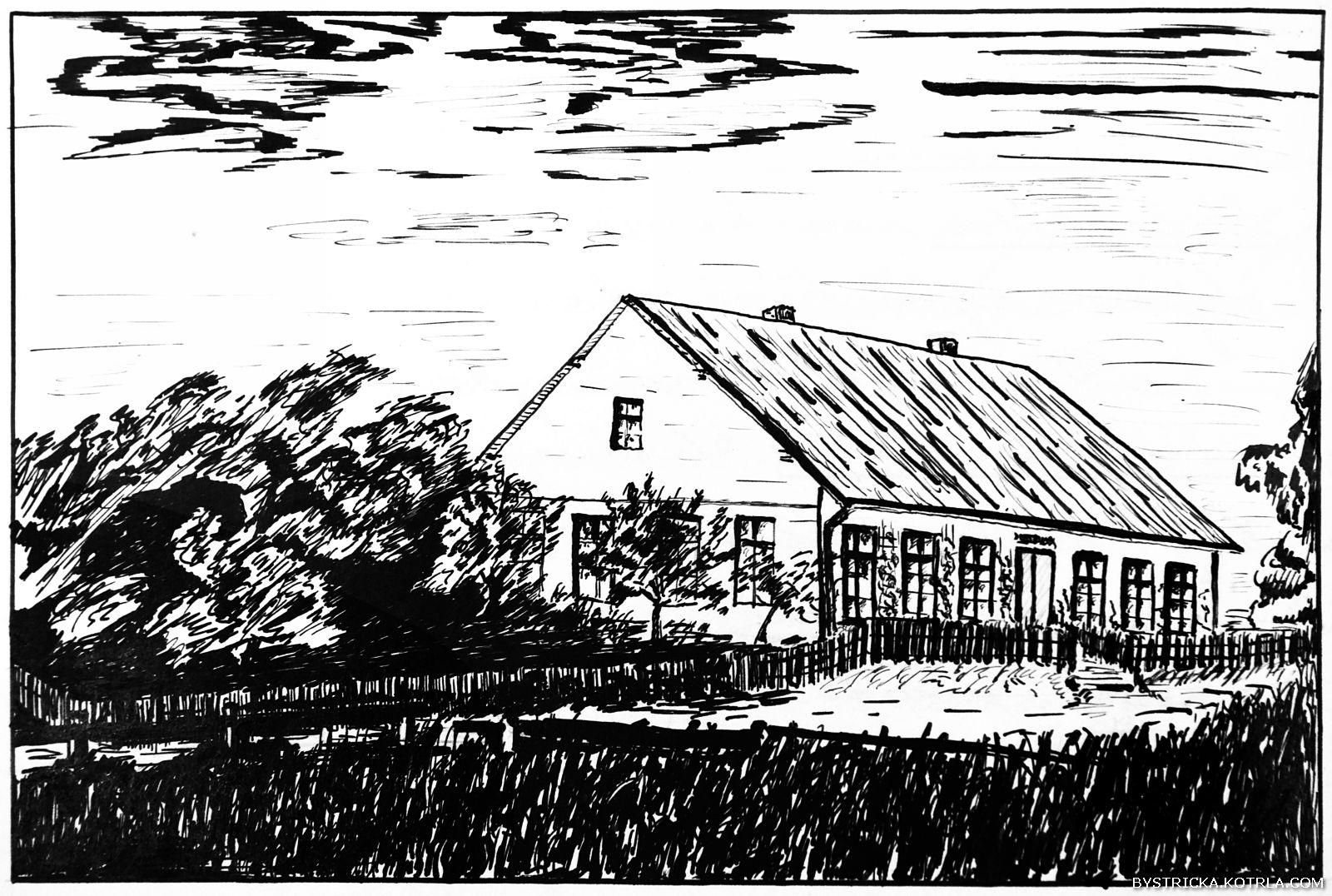 Kresba Vladimíra Rouse z roku 1926 zachycuje původní stavbu jednotřídní obecné školy vBystřičce se šindelovou střechou z roku 1884.