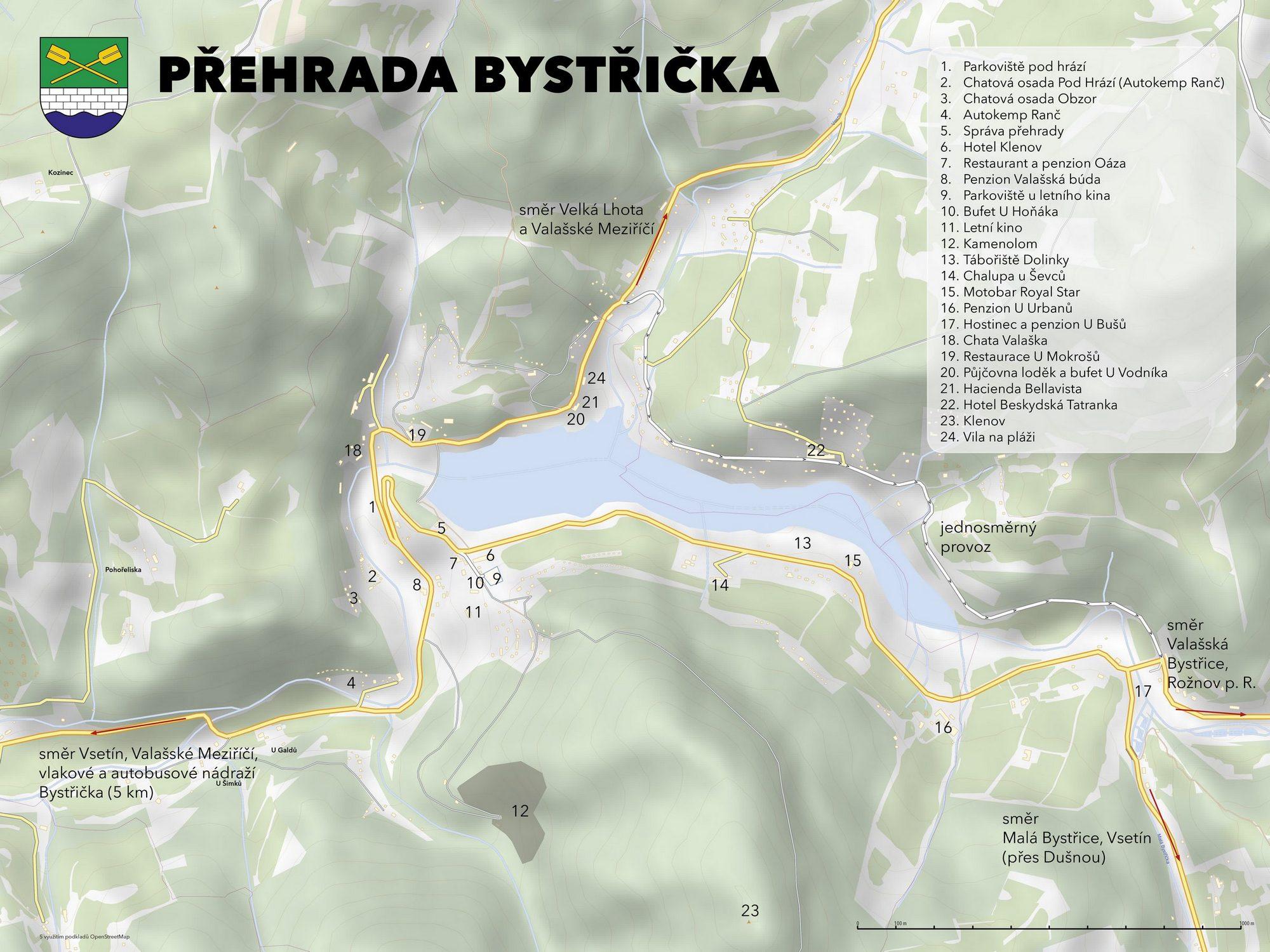 Přehrada Bystřička - mapa okolí