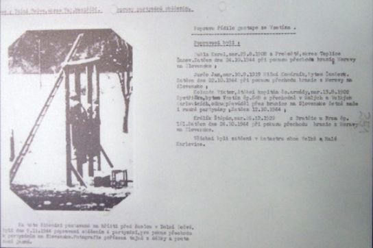 Viktor Kollanda - místo popravy na Dolní Bečvě